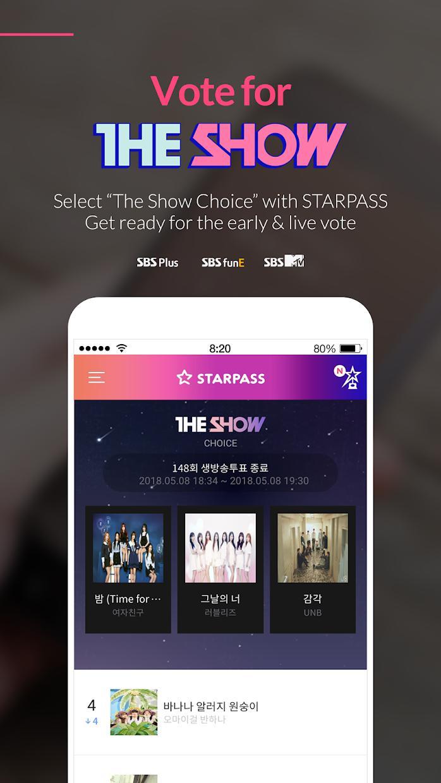 STARPASS - idol fandom app, SBS MTV The Show vote 游戏截图1