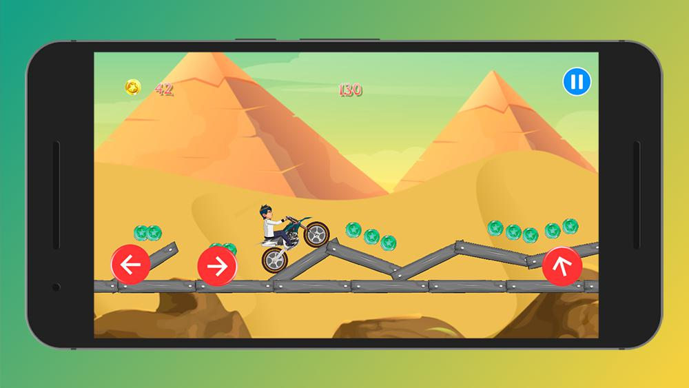 Crazy Jungle Ben MotoBike Race - Motor Hill Racing 游戏截图2