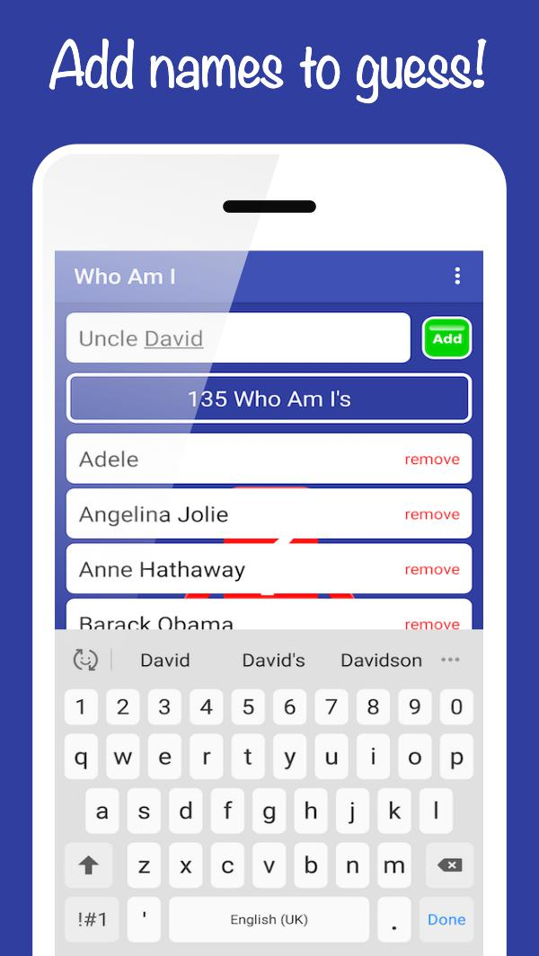 Who Am I ? Custom Party Guessing Game 游戏截图2