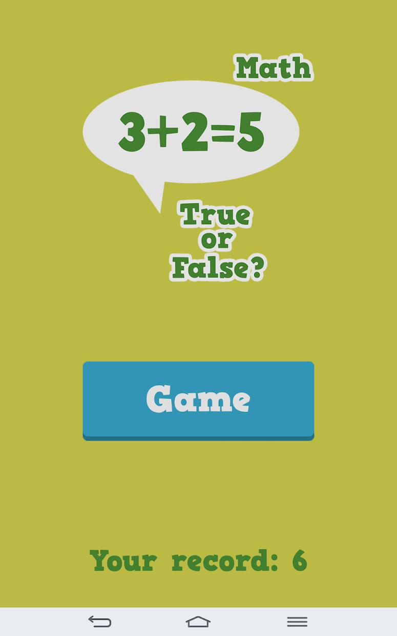 True or False Math 游戏截图5