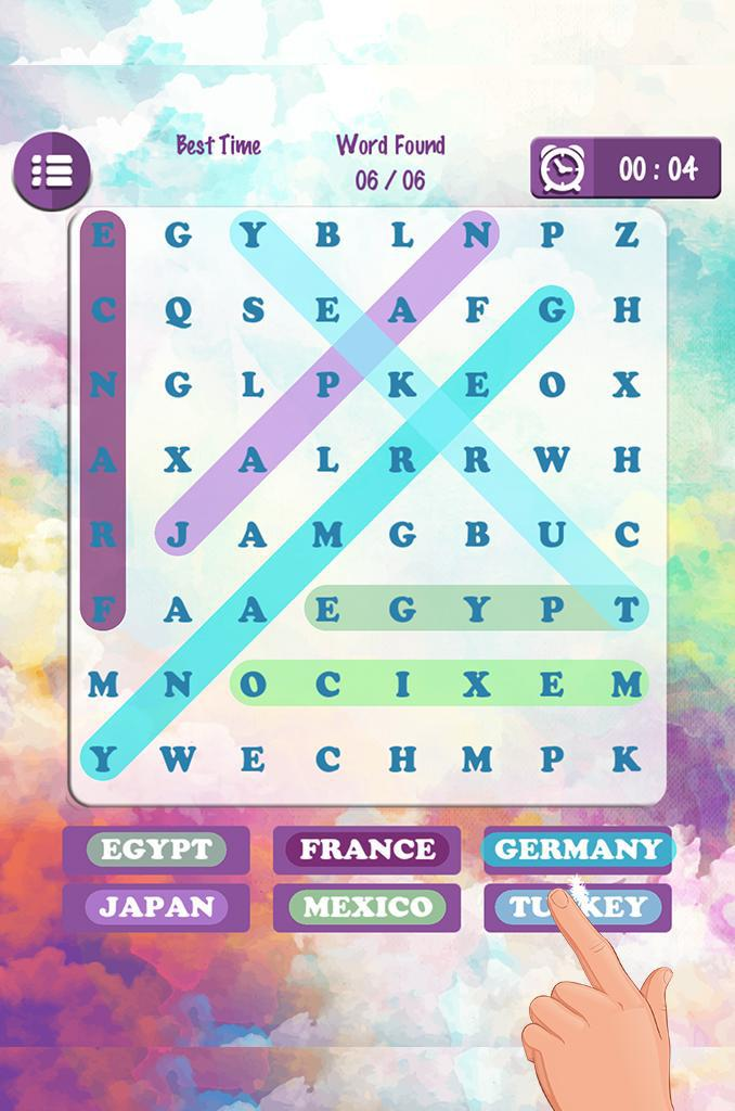 Word Search Country Names 游戏截图1