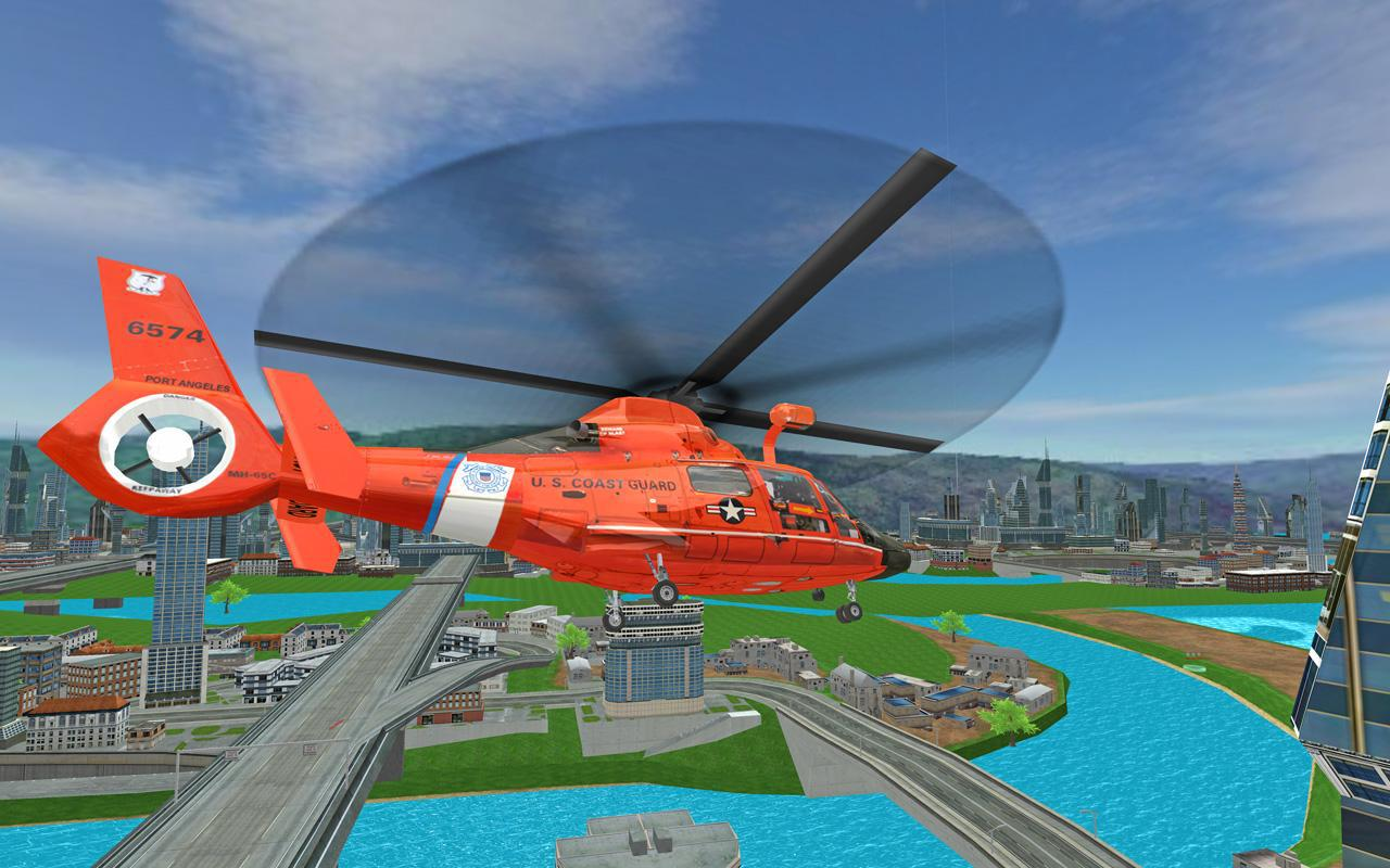 Futuristic Helicopter Rescue Simulator Flying 游戏截图1