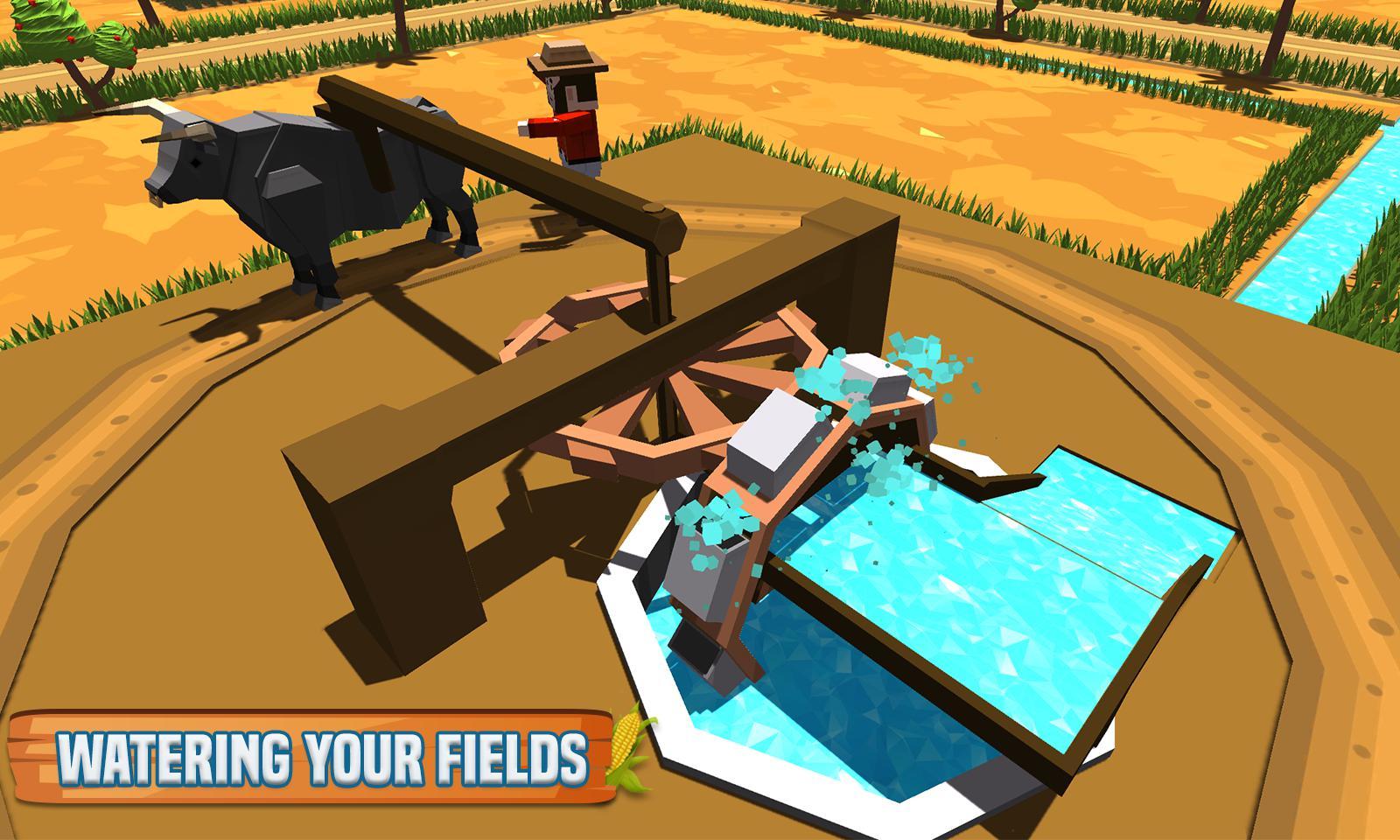 玉米农场专业:块状农民模拟器 游戏截图1
