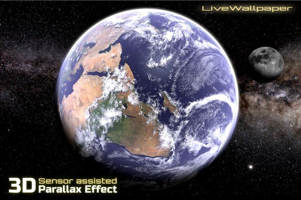 Earth & Moon in HD Gyro 3D Parallax Live Wallpaper 游戏截图1